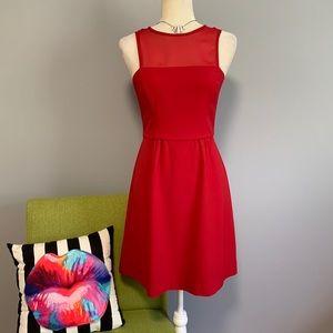 Banana Republic Red Fit & Flare Mesh Dress B7